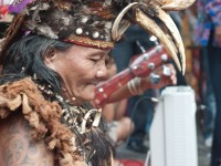 Dayak storyteller in Kalimantan, Indonesia