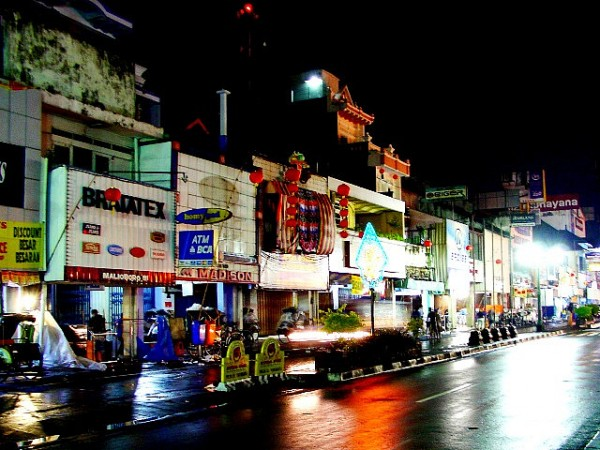 The Malioboro Street in Yogyakarta at night