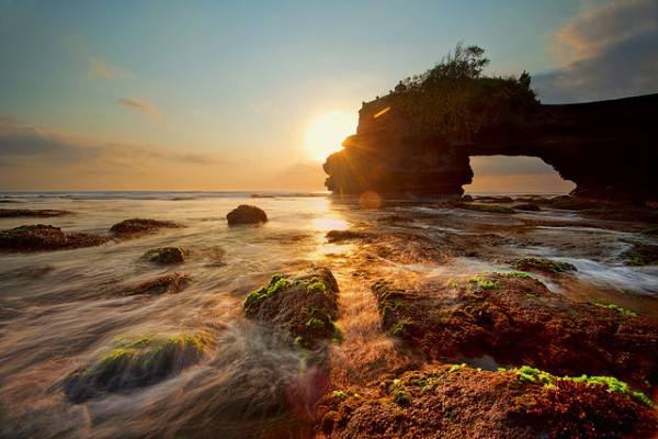 Batu Bolong at sunset in West Nusa Tenggara