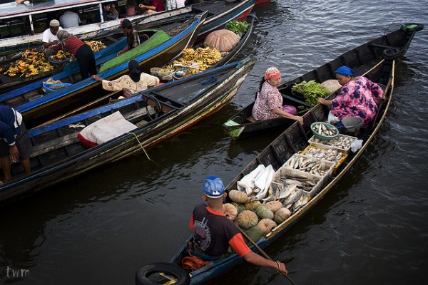 Floating market in South Kalimantan