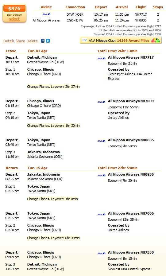 All Nipon Airlines flight from Detroit to Jakarta details
