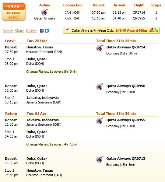 Qatar Airways flight from Houston to Jakarta details